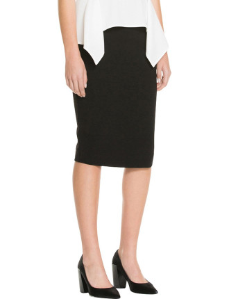 Ponte Mid Calf Pencil Skirt