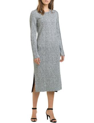 Long Sleeve Heathered Jersey Dress
