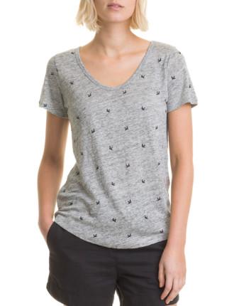Short Sleeve Linen Print T-Shirt