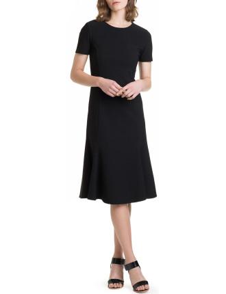 Fluted Hem Body Con Dress