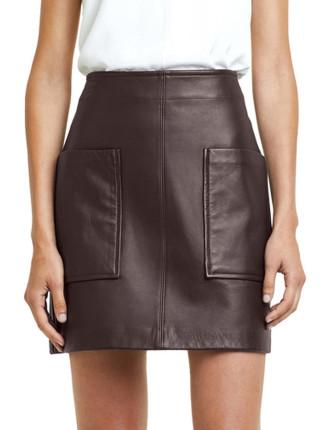 Pocket Detail Leather Skirt