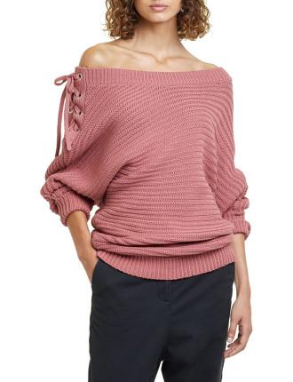 Laced Off Shoulder Knit