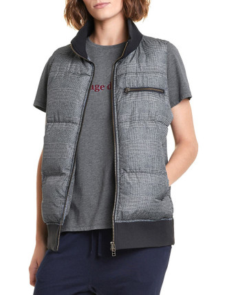 Print Check Puffer Vest