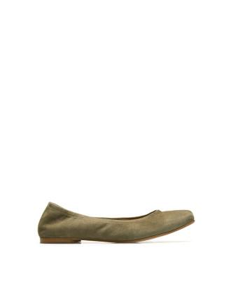 Khaki Green Letitia Suede Ballet