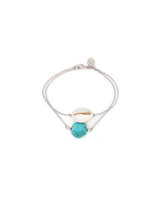 Silver Shell Turq Bracelet