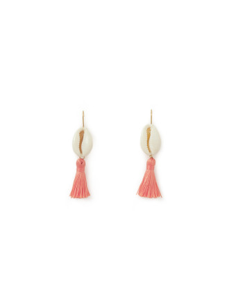 Coral Pink Shell Tassel Earring