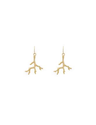 Gold Metal Coral Earrings