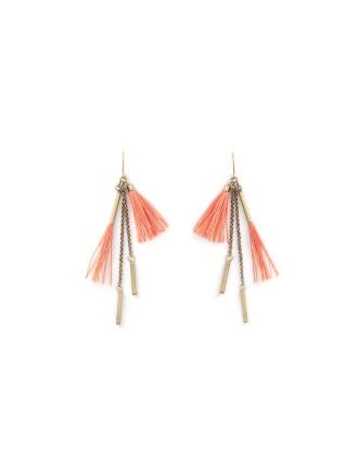 Coral Pink Tassel Drop Earring