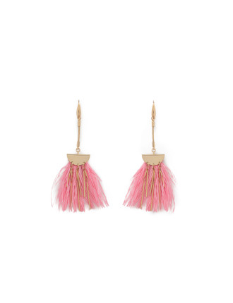 Coral Pink Feather Earring