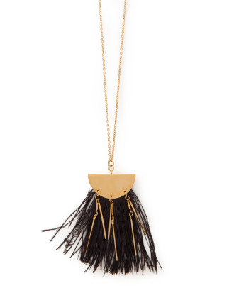 Black Feather Metal Neck
