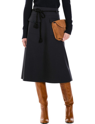 Pocket Detail A-Line Skirt