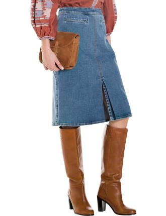 Pleat Fur A-Line Skirt