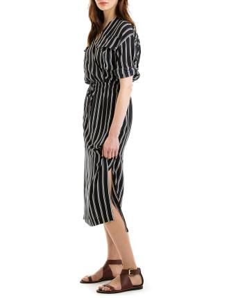 Stripe Midi Wrap Dress