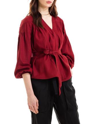 Long Sleeve Tuck Detail Wrap Shirt