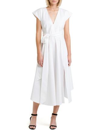 Deep V-Neck Fit Flare Dress