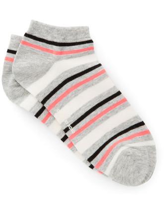 Three Tone Stripe Ped Socks