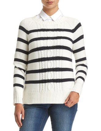 Calise Stripe Cable Knit