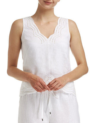 Thea Linen Embroided Tank