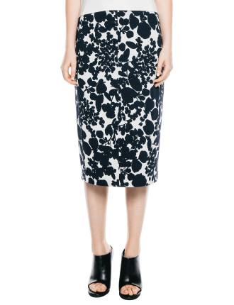 Floral Double Knit Midi Skirt