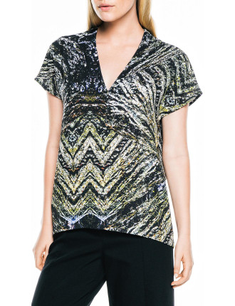 Pebbled Landscape V-Neck Top