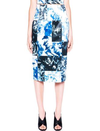 Square Block Floral Pencil Skirt