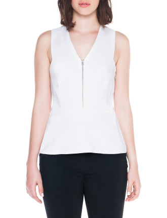 Structured Viscose Peplum Top