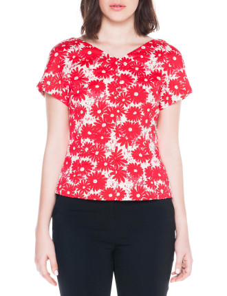 Poppy Jacquard V-Neck Top