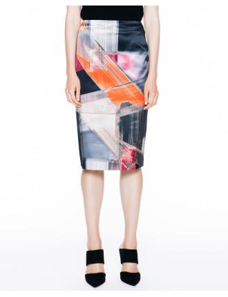 Brushstroke Satin Pencil Skirt