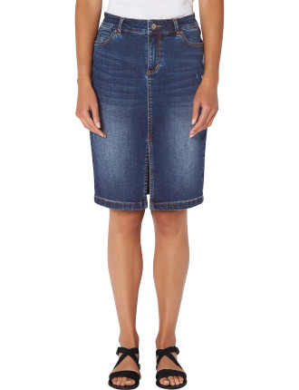 Split Denim Pencil Skirt