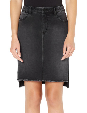 Washed Black Denim Skirt