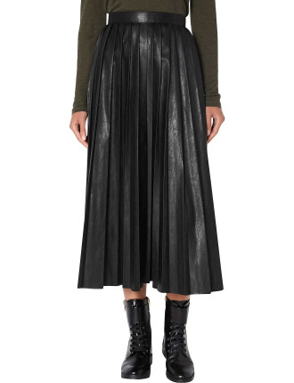 Black Soft Pleat Midi Skirt
