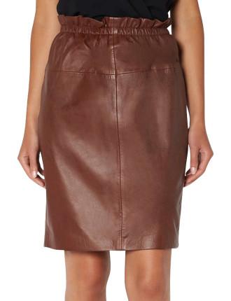 Tan Paper Bag Pencil Skirt
