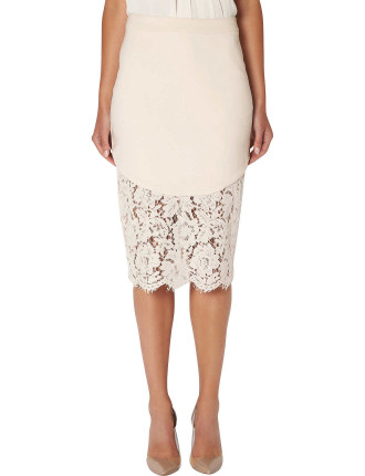 Curved Lace Hem Skirt
