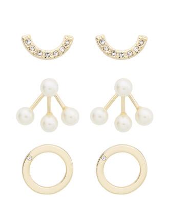 Pearl Crystal Earring Set
