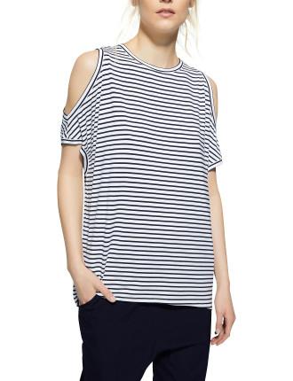 Cut Shoulder Stripe Shirt