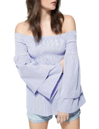 Stripe Shirred Top