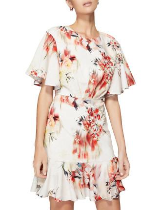 Soft Ruffle Print Dress