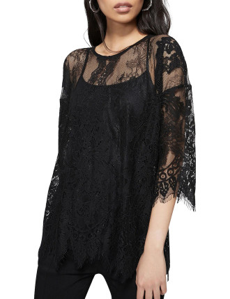 Lace Two Tone Elbow Top