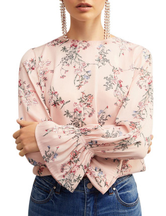 Printed Sleeve Detail Blouse