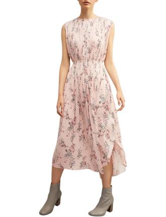 Pleat Print Midi Dress