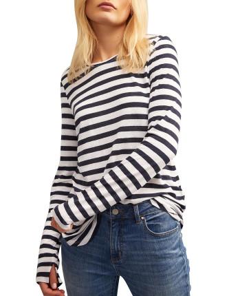 Stripe Linen Long Sleeve Top