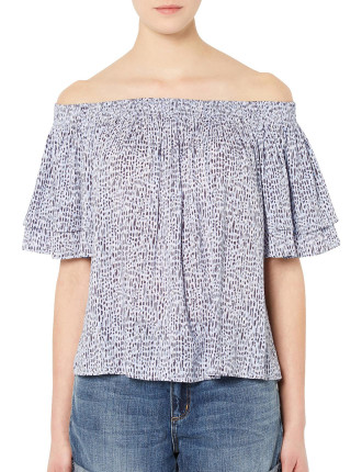 Gathered Cold Shoulder Shirt
