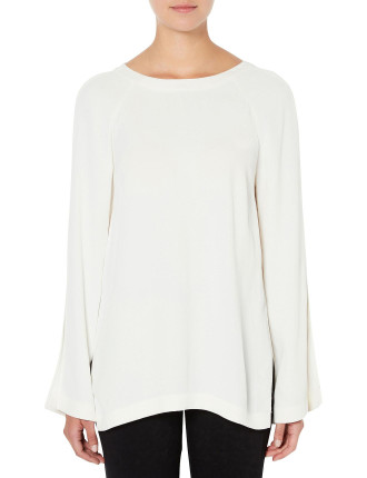 Split Sleeve Eyelet Top