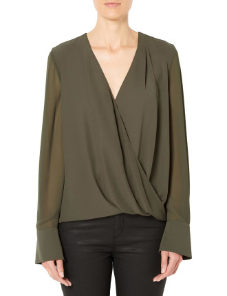 Contrast Wrap Shirt