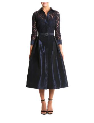 Sapphire Lace & Taffeta Dress
