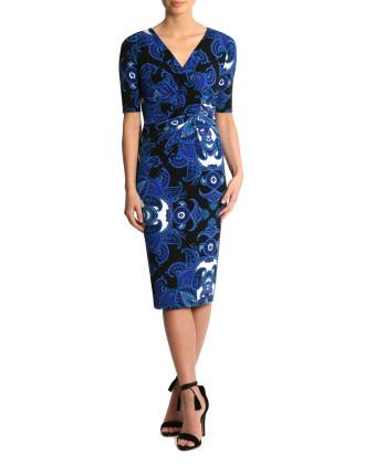Cobalt Paisley Jersey Dress