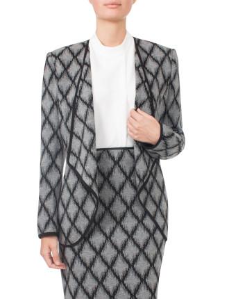 Jacquard Knit Drape Front Jacket