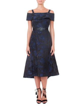 Off The Shoulder Jacquard Dress