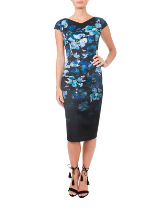 V-Neck Scuba Dress