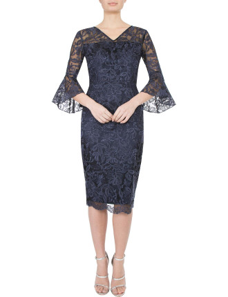 NAVY EMBROIDERED LUREX DRESS